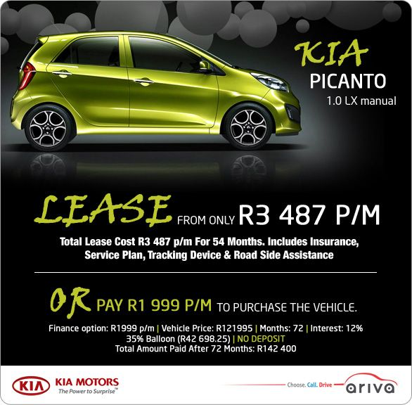 kia picanto 1 0 lx manual is available to lease from r3 487 pm rh pinterest com kia picanto owners manual Kia Picanto 2015