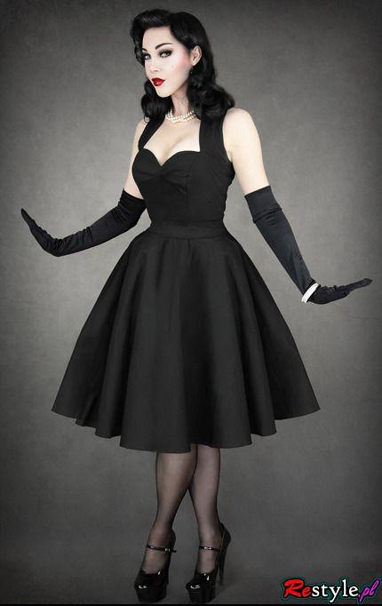 Pin Up 50 Black Dress Heart Neckline Petticoat Clothing Dresses