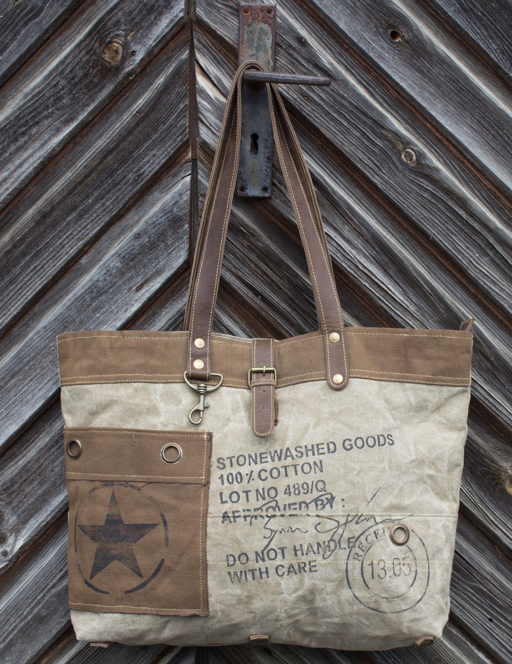 Vintage Tasche Canvas Canvastasche Handtasche Schultertasche Shopper Retro Segeltuch Leder Ledertasche Safari Outdoor Handtaschen Taschen Damen Taschen