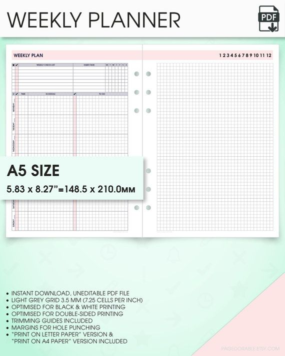 a5 planner inserts weekly undated planner printable wo1p (a5 - one week planner template