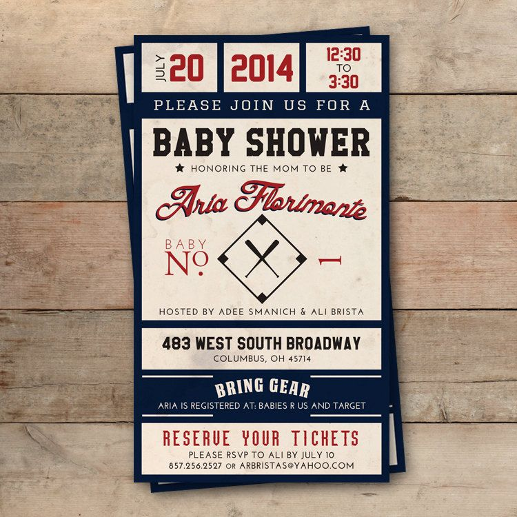 Vintage Baseball Ticket Baby Shower Invitation by lucky7press - free ticket invitation template