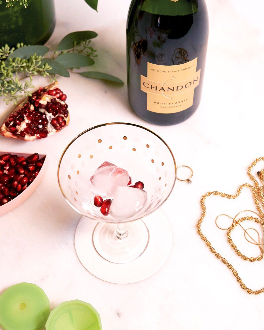 Dial up the drama with a Beverly Hills-inspired drink.  Top off your Brut with a dash of pomegranate seeds and diamond-shaped ice cubes for some ice cold bling.