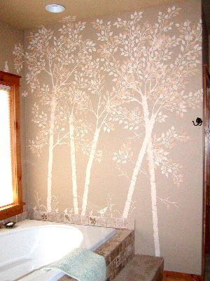 Create raised trees on your walls with this easy tree stencil set