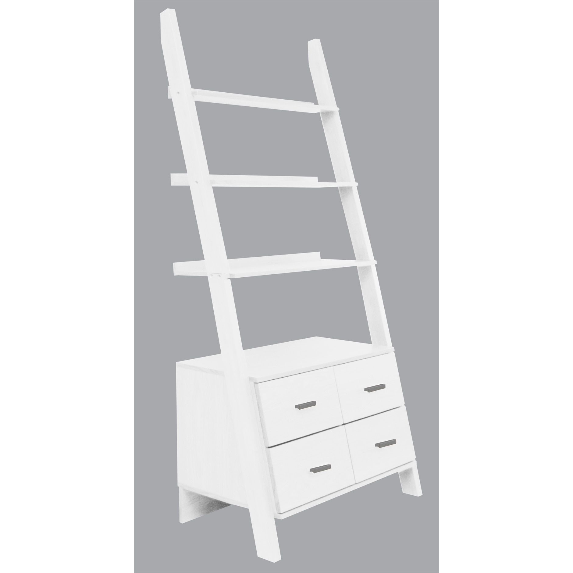 White Finished Leaning Ladder Bookshelf With Drawers