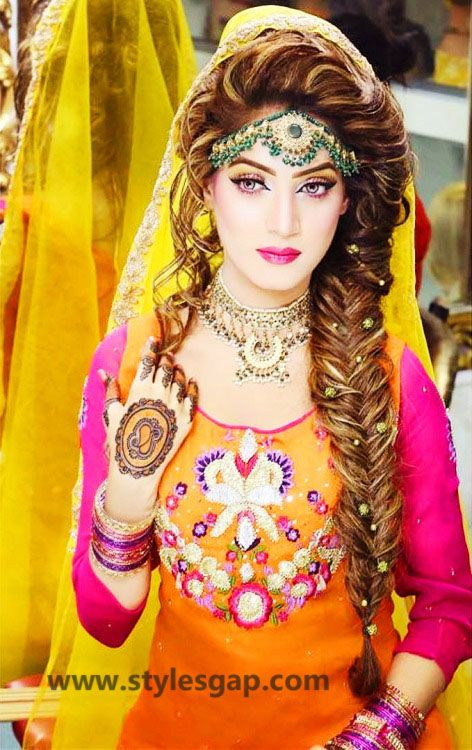 Mehndi Designs And Hairstyles : Mayun bridals makeup looks dresses designs