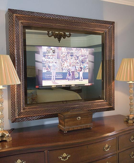 Tv Hidden Behind Two Way Mirror Awesome In Bathroom Mirrors To Catch Traffic Report While