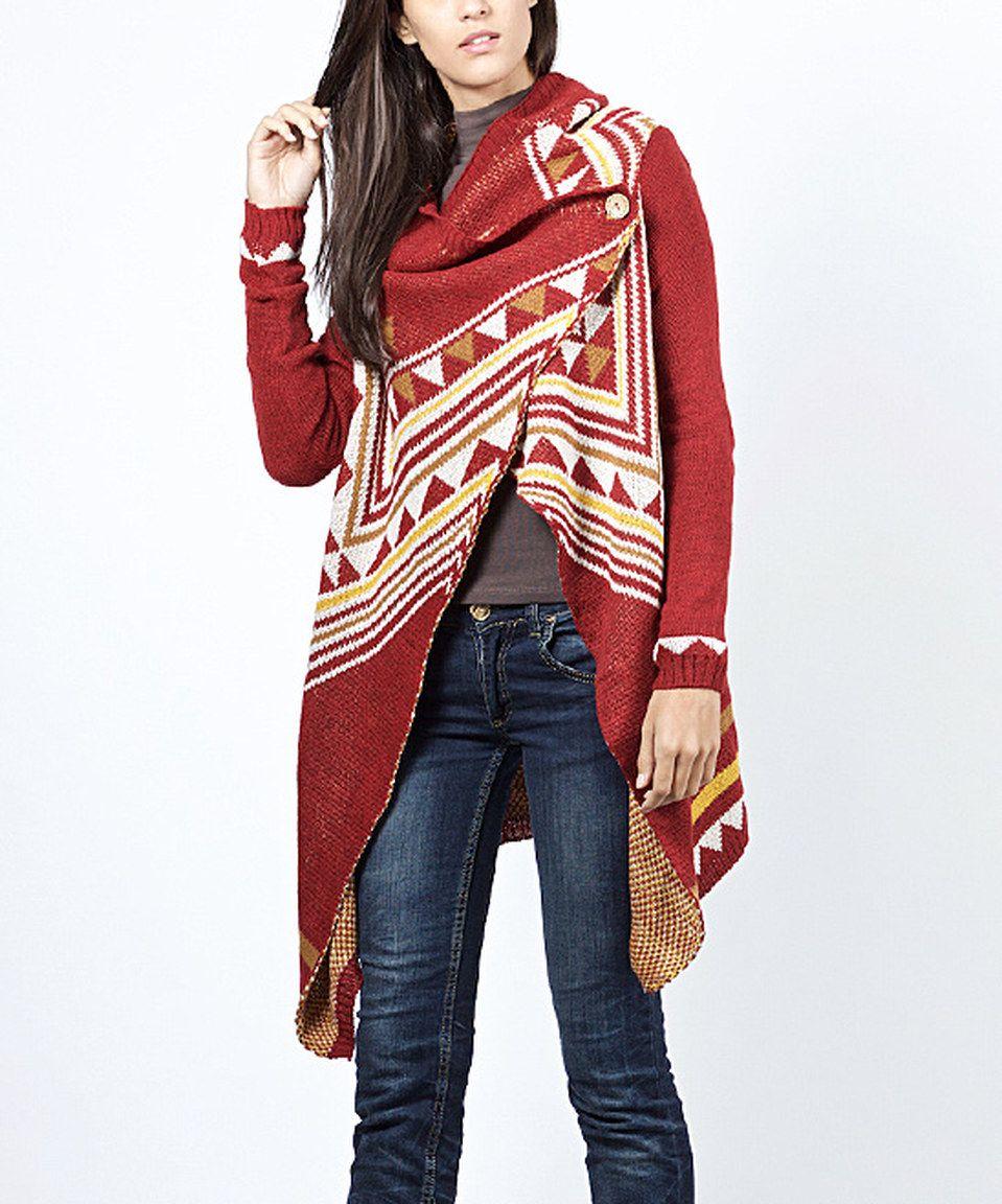 Scarlett Bordeaux & White Geometric Hooded Cardigan | Scarlett o ...