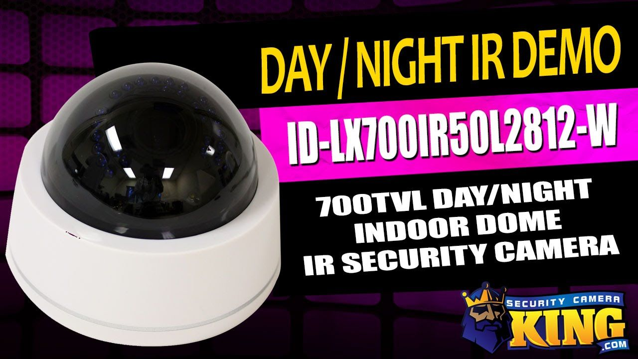 Day / Night IR Demo - ID-LX700IR50L2812-W 700TVL Indoor Dome IR Security...