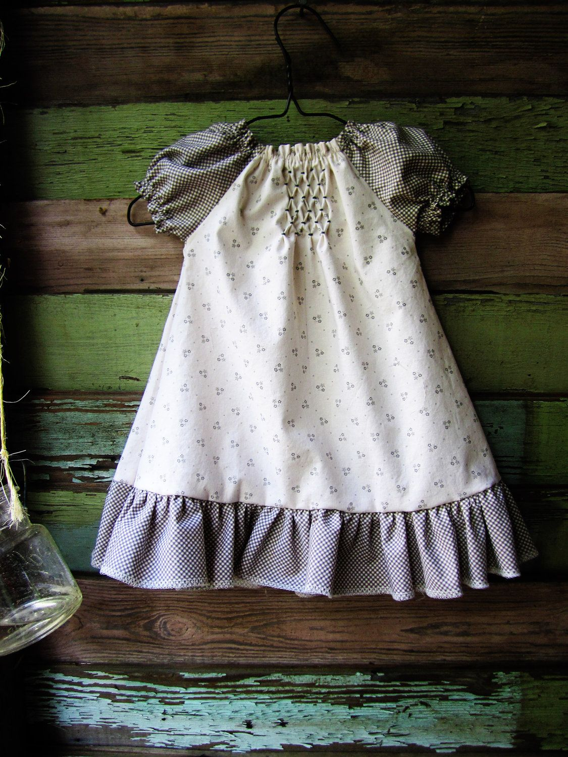 Southern Chic Smocked peasant dress size newborn 0-3 3-6 6-12 months 2t. $26.00 USD, via Etsy.
