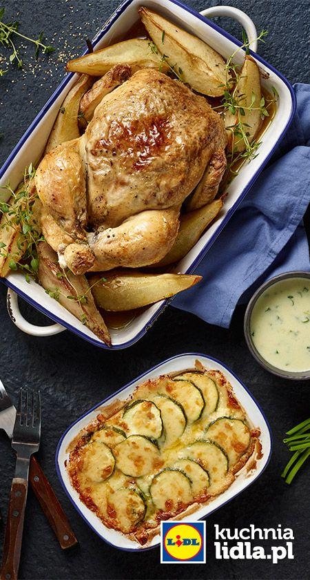 Pieczony Kurczak Z Serem Gorgonzola Gruszkami I Orzechami Wloskimi Z Zapiekanka Z Cukinia Przepis Recipe Main Course Food Food And Drink