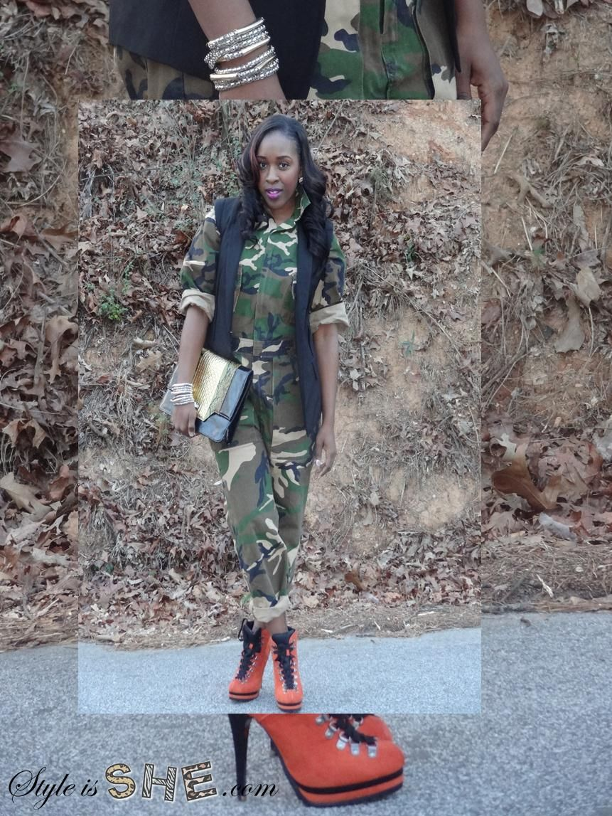I thrifted this camo jumpsuit from Flysnest and paired it with these orange boots from Target. See more of this look at www.styleisshe.com