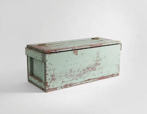 { Large Vintage Storage Crate  Box Wood Mid Century by Hindsvik [$145] }