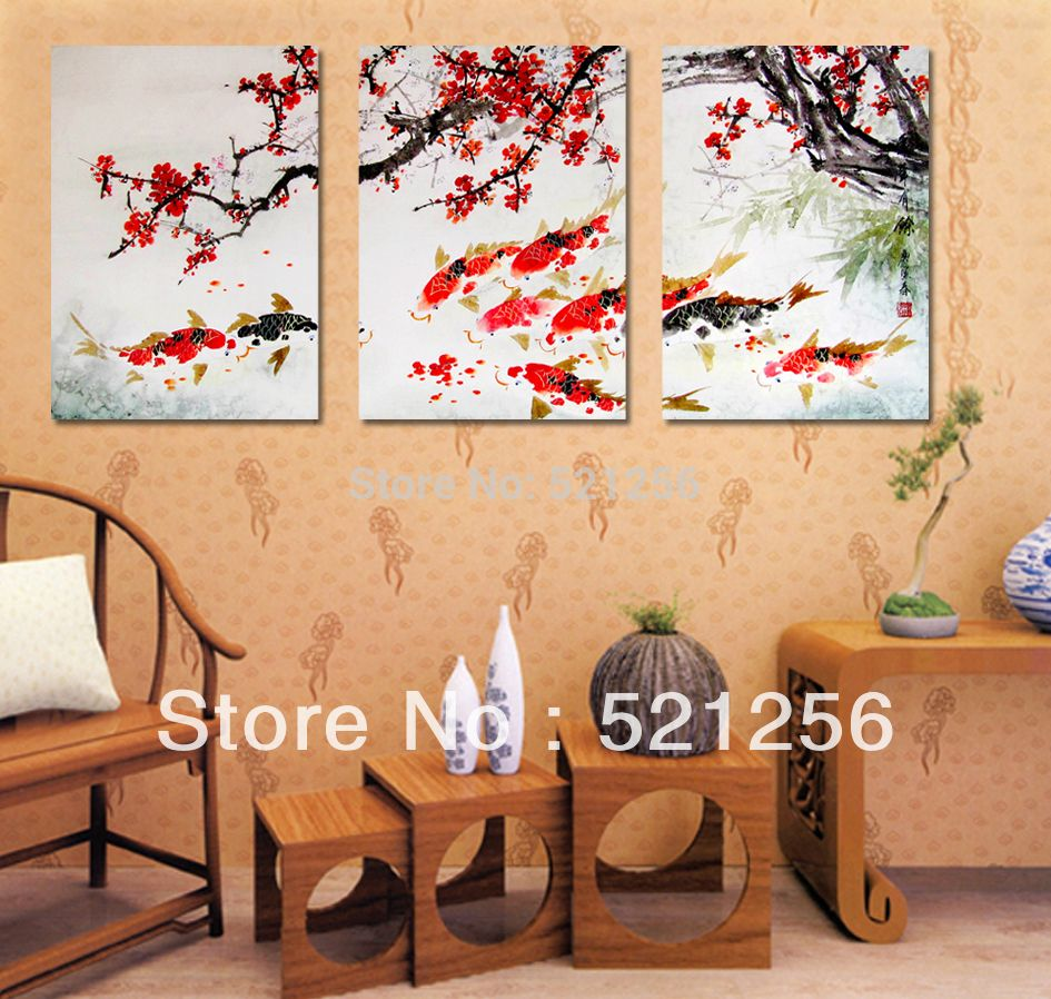 3 Piece Free Shipping Modern Wall Painting Cherry Blossom Koi Fish ...