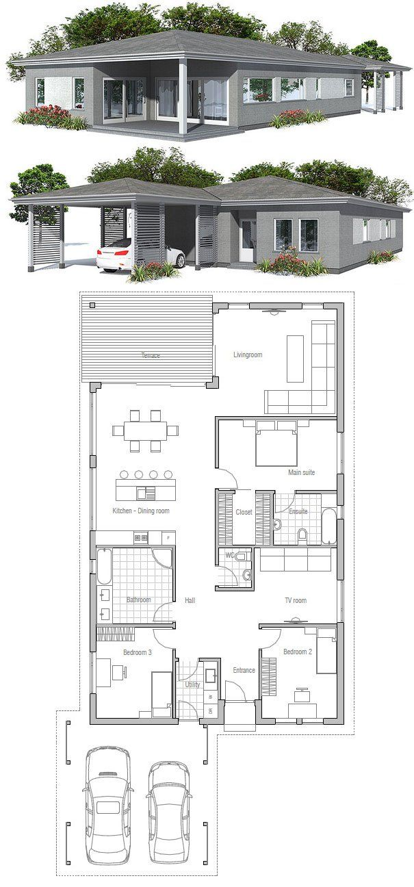 Simple modern narrow house. Floor Plan from ConceptHome.com ...