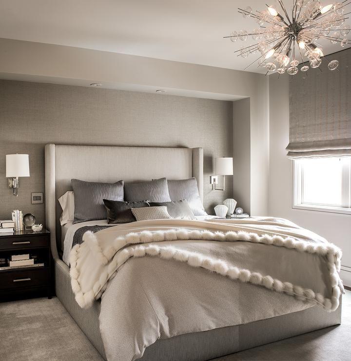 20 Bedroom Chandelier Designs Decorating Ideas: A Glass Sea Urchin Chandelier Illuminates An Elegant Gray