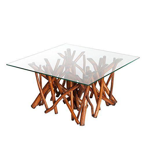 Design Teakholz Couchtisch DRIFTWOOD natur braun mit Glasplatte - designer couchtisch tiefen see