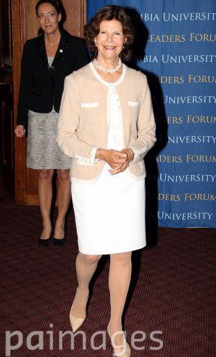 La reina Silvia y Magdalena en una conferencia sobre la infancia en la Universidad de Columbia