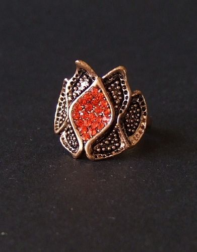 Vintage Copper Ring with Red Orange Rhinestones Size 7.75