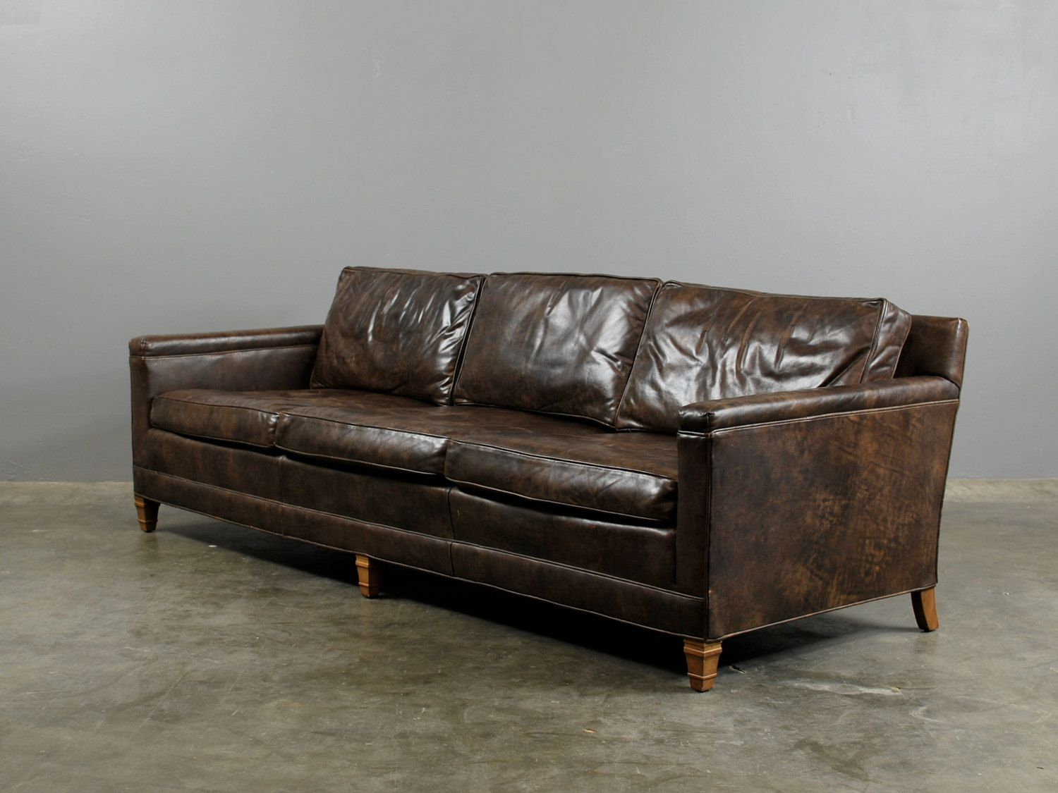 Reserved For Zoe Brown Vintage Leather Sofa Dark Chocolate