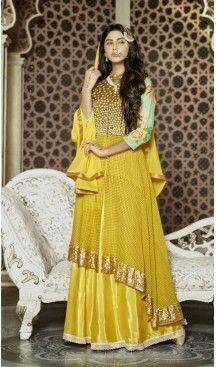 Achkan Style Green & Yellow Color with Lace Work Incredible Unstitched Salwar Kameez