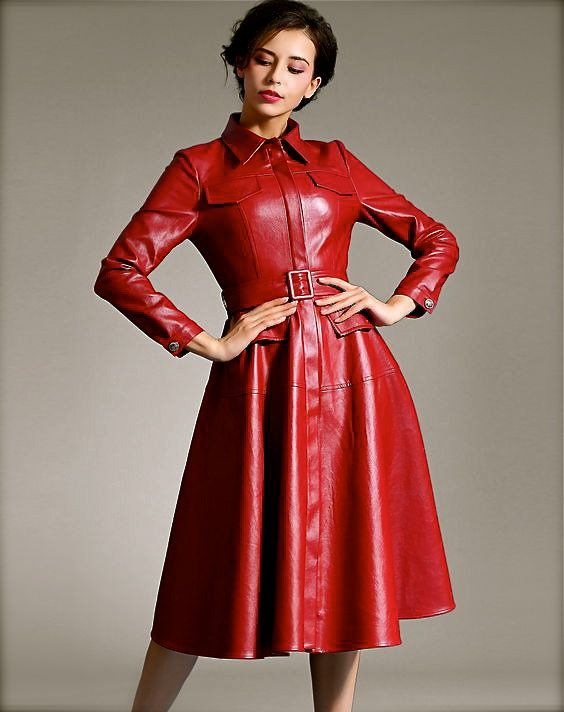 Red leather dresses