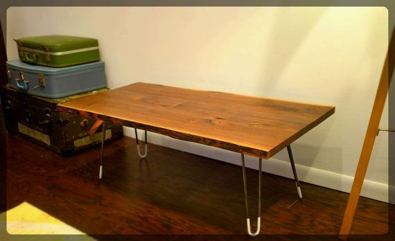 Live edge Mid century modern coffee table with steel hairpin legs. Etsy 400$