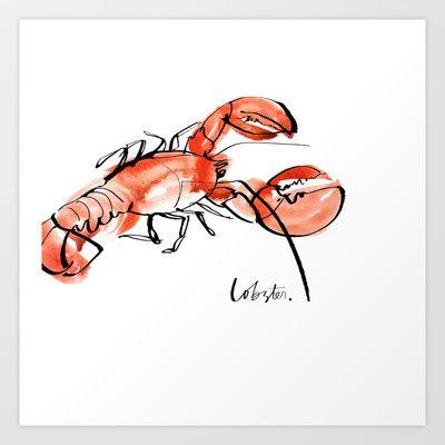 Lobster++Art+Print+by+Julie+Song+Ink+-+$16.00