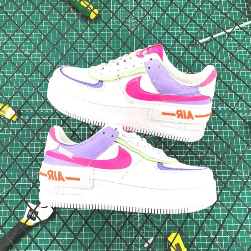 Ladies Nike Air Force 1 Low Shadow White Pink Purple In 2020 Nike Air Shoes Custom Nike Shoes Nike Shoes Air Force Nike's new 'shadow' range is inspired by women who are forces of change, updating several familiar styles with practical and cool details. ladies nike air force 1 low shadow