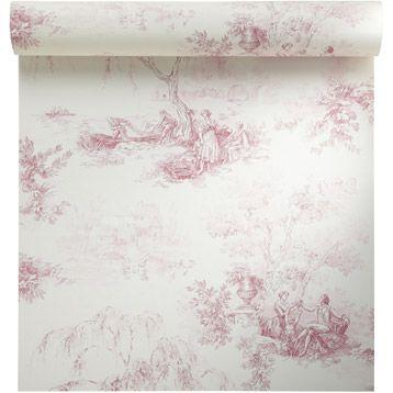 Papier peint vinyle sur intiss toile de jouy rouge larg - Papier peint chambre fille leroy merlin ...