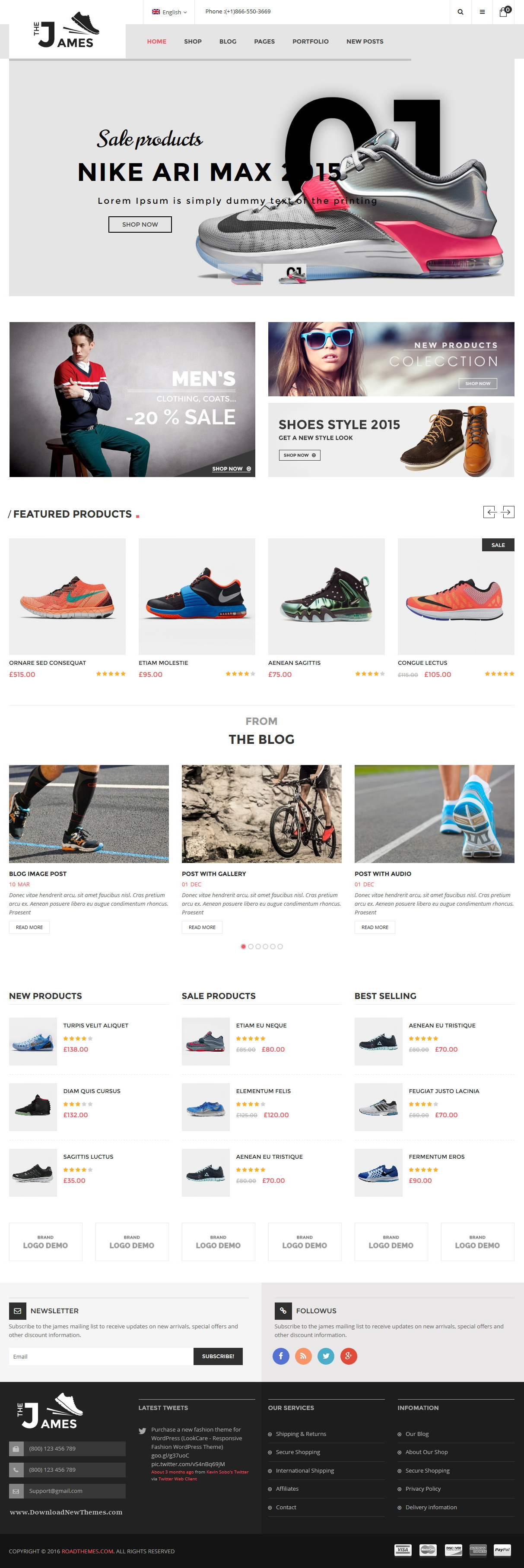 James Responsive Woocommerce Shoes Theme Online Shop Design Ecommerce Web Design Slider Design