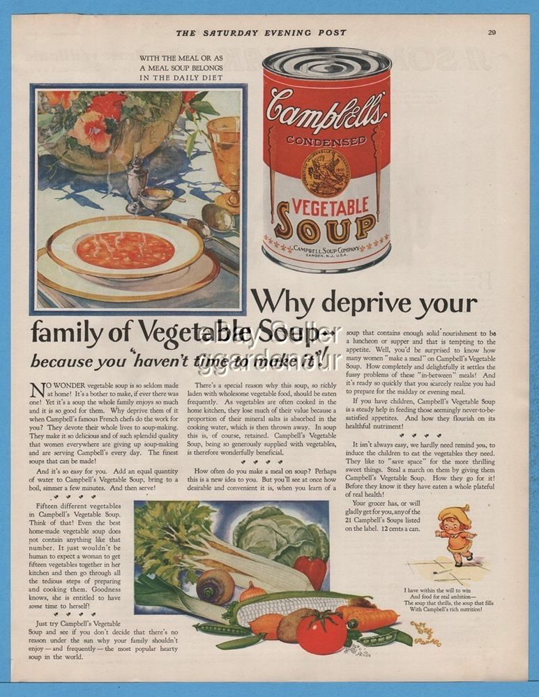 1928 Campbell's Vegetable Soup Kid Kitchen Decor Canned