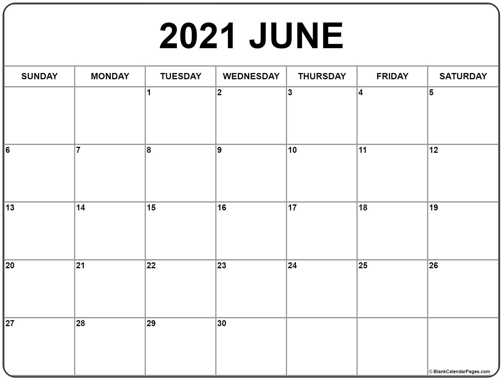 Blank June 2021 Calendar In Printable Format In 2020 Monthly Calendar Printable Calendar Printables Free Printable Calendar