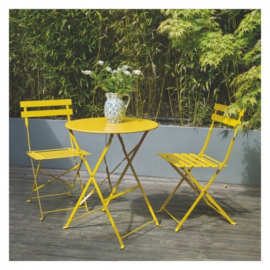 Parc 2 Seat Yellow Metal Folding Bistro Table And Chairs Set Buy