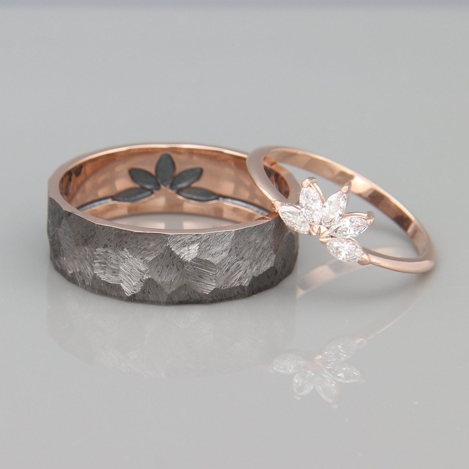 14k Rose Gold Marquise Diamonds Wedding Ring Solid 14k Rose Gold