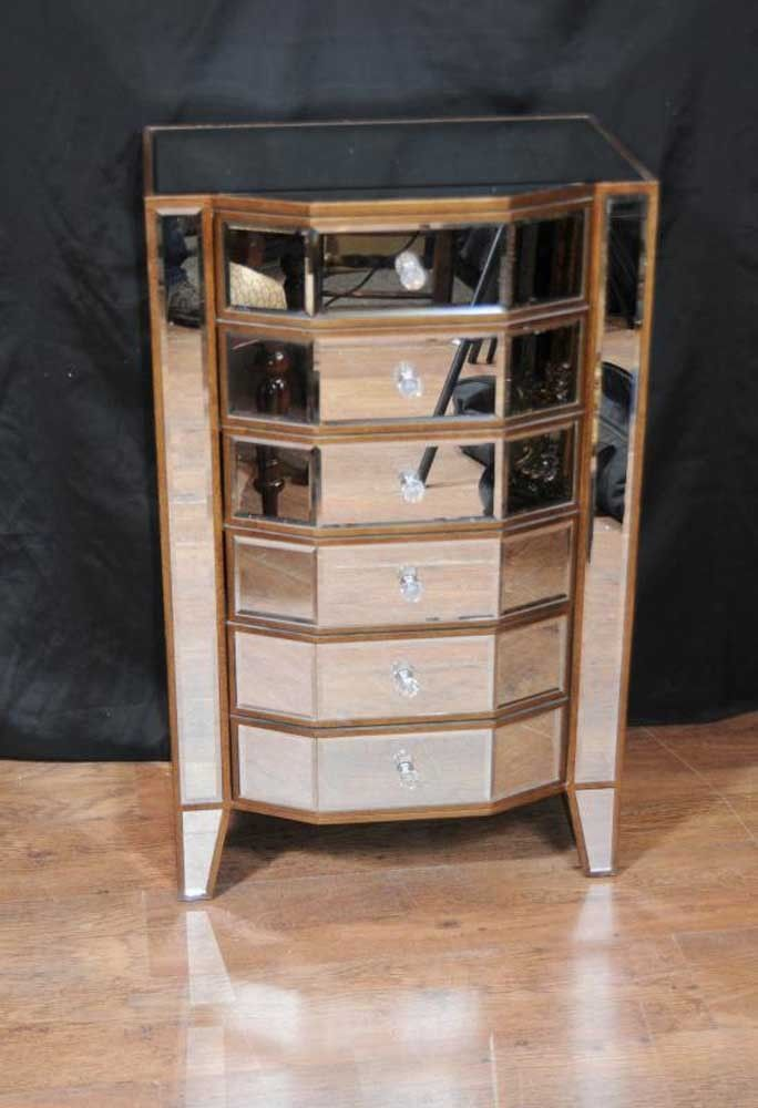 Mirrored Chest Drawers Tall Boy Art Deco Furniture