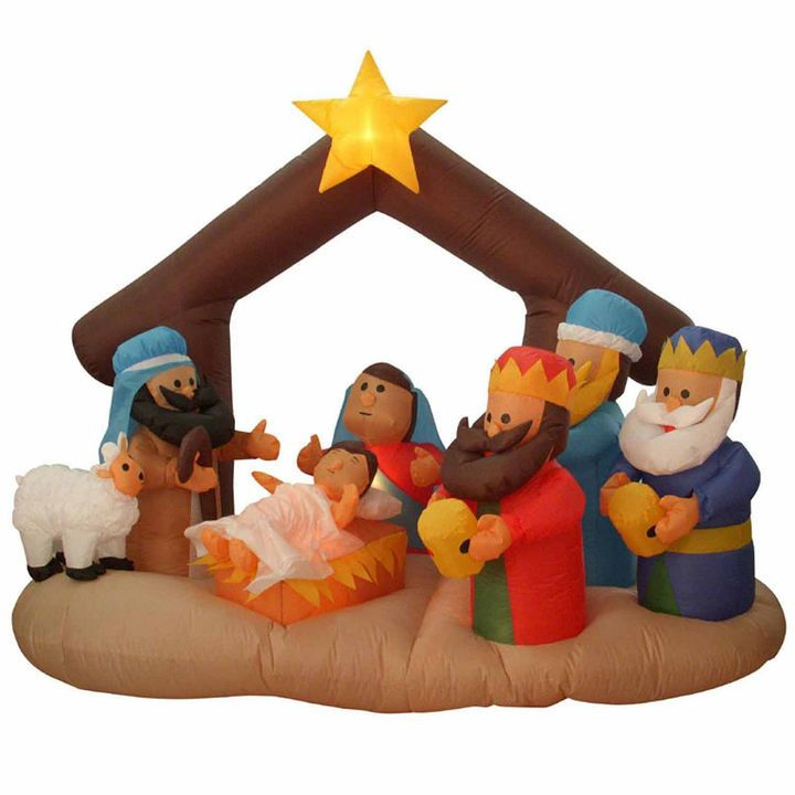 Asstd National Brand 65\u0027 Inflatable Nativity Scen\u2026 Christmas Is - inflatable outdoor christmas decorations