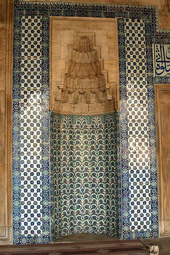 Blue tilework outside the Rustem Pasa Mosque, Istanbul, Turkey