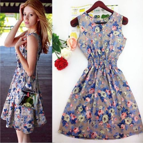 669a9f7c68 New Summer/Spring Satin Floral Dresses Sleeveless Above Knee Casual ...