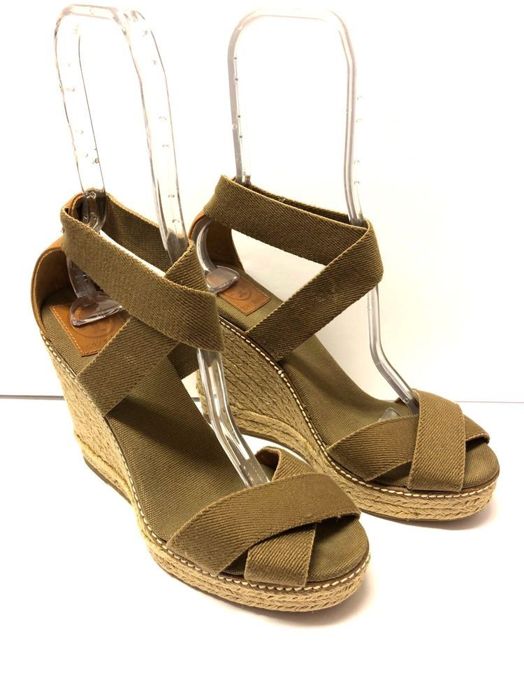 9bbb36a78931cd Tory Burch Fabian Green Espadrille Wedges Sandals Shoes Size 10  ToryBurch   Casual