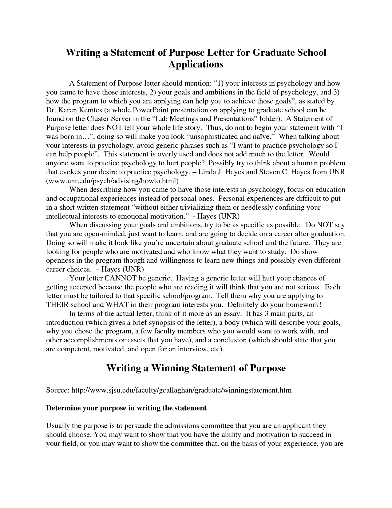 Graduate School Statement Of Purpose  Personal Statement