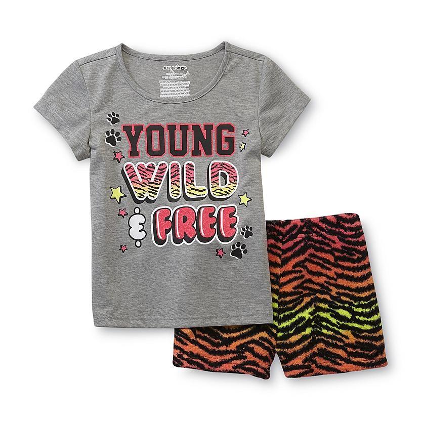 1ee46774ebd3 Joe Boxer Girl's Pajama T-Shirt & Shorts - Young, Wild & Free ...