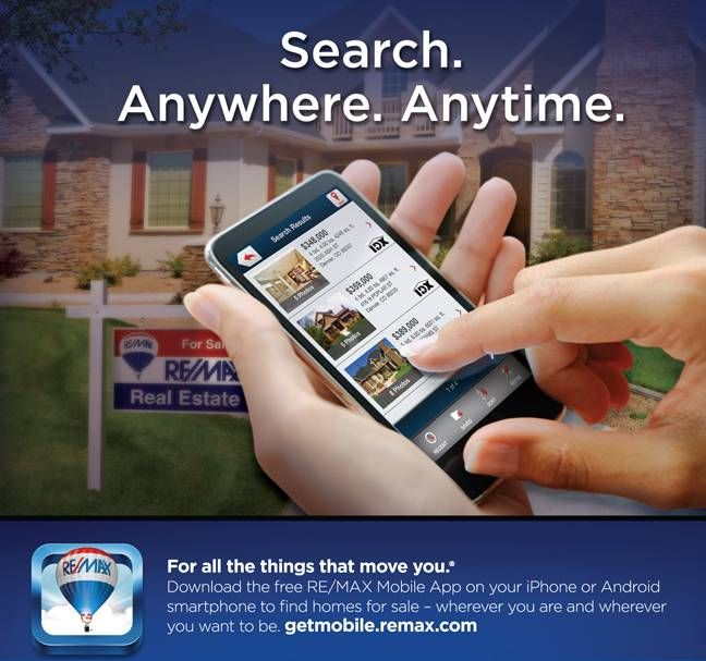 Search listings anywhere, anytime. getmobile.remax.com #Remax #RealEstate