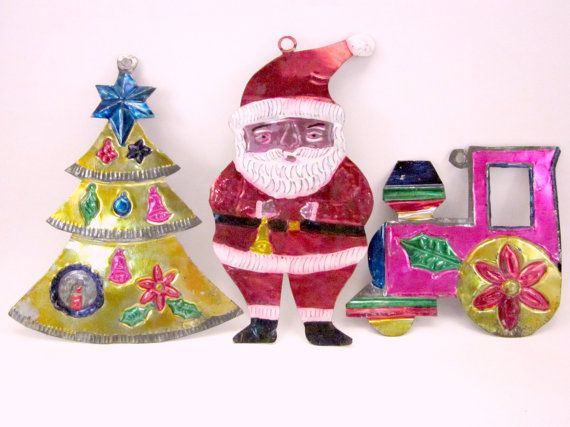 Mexican Tin Santa Train Tree Christmas Holiday Ornaments Etsy Folk Art Ornament Dit Christmas Holiday Ornaments
