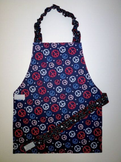 Peace signs apron Stars apron Red white and blue by EverSewSweet, $12.00