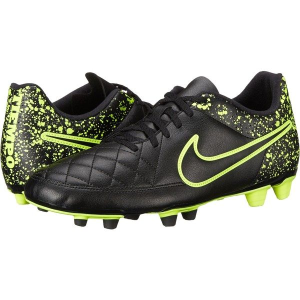 Nike Tiempo Rio II FG (Black/Black) Men's Soccer Shoes ($36) ❤ liked on Polyvore featuring men's fashion, men's shoes, men's sneakers, black, mens perforated shoes, mens black shoes, nike mens shoes and mens shoes