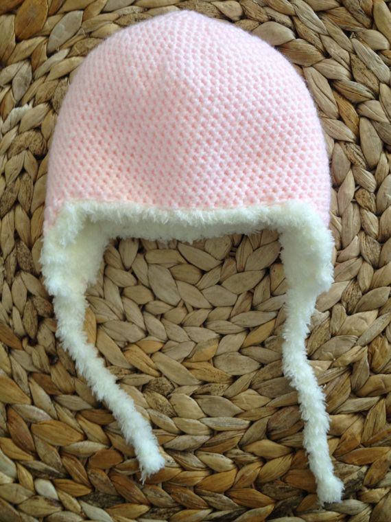 5b53c11b4e4 Crocheted fluffy pink trapper hat for babies by DrinkTeaandSew ...