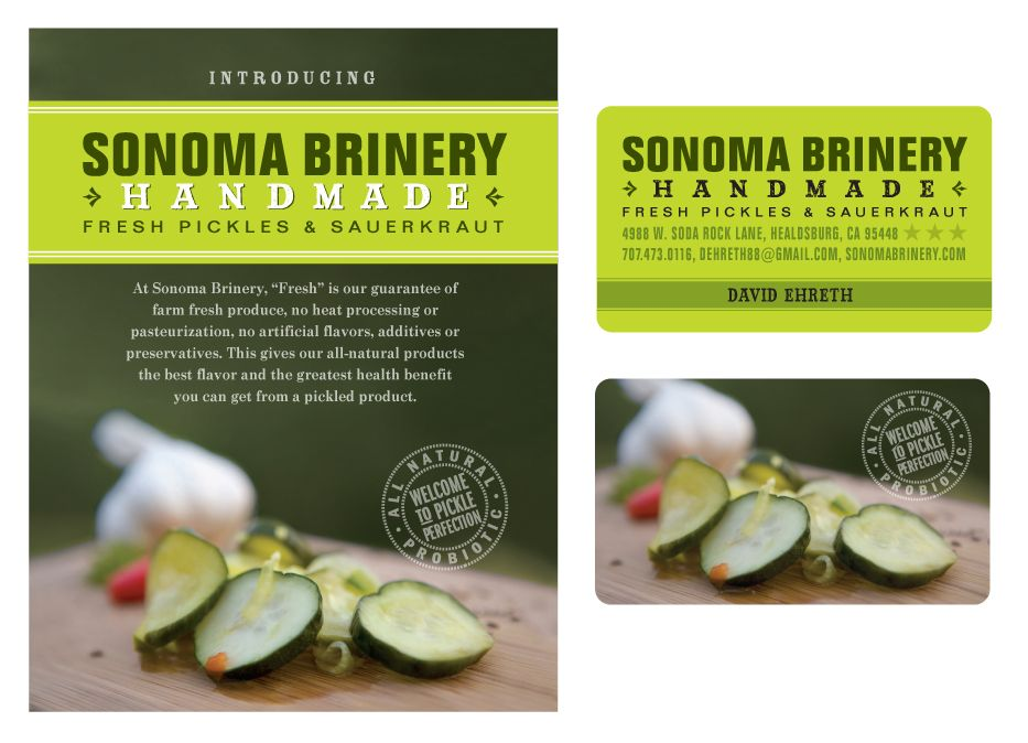 Sonoma Brinery Sell Sheet & Card Pickles~Super Crunchy With A