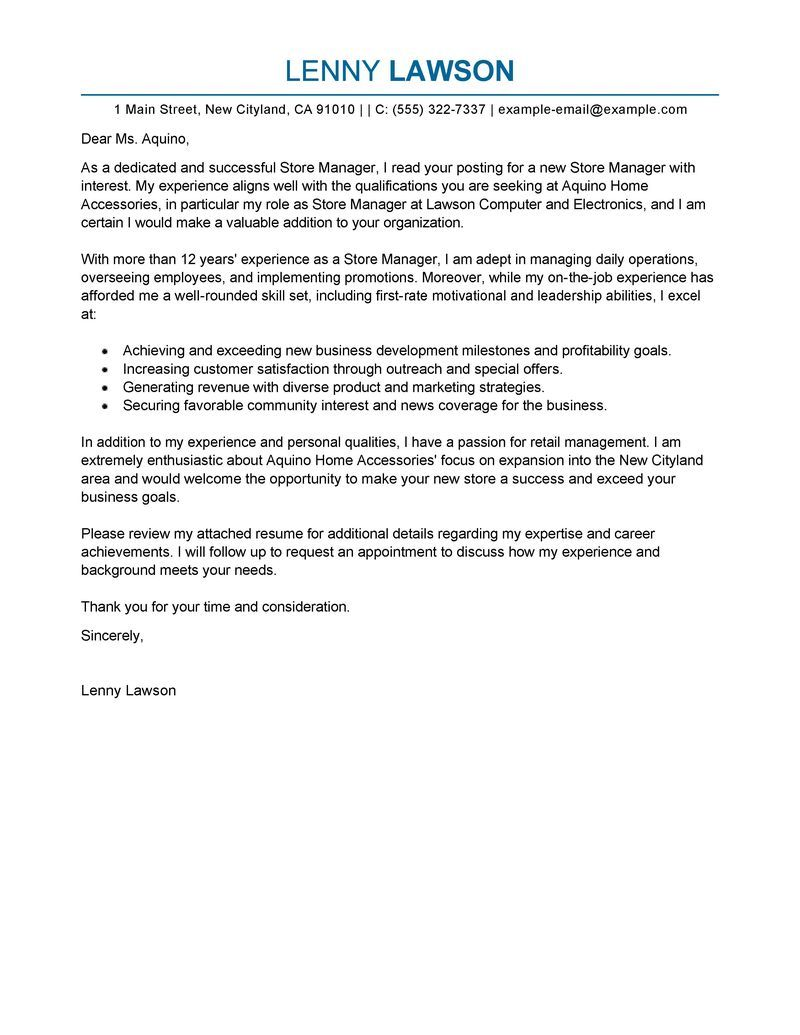 Best Store Manager Cover Letter Examples Livecareer Create  Home