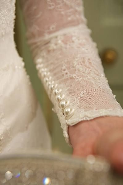 Pearl sleeve detail on florence fishtail wedding gown with long fitted sleeves sweeping neckline and low shadow back chanticleer also rh pinterest