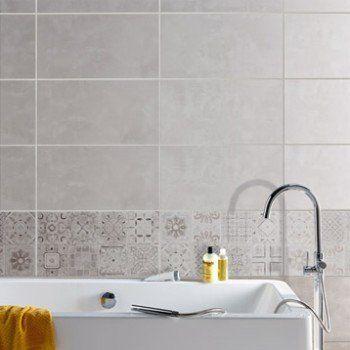 Faïence mur gris, décor life l316 x L5934 cm Leroy Merlin